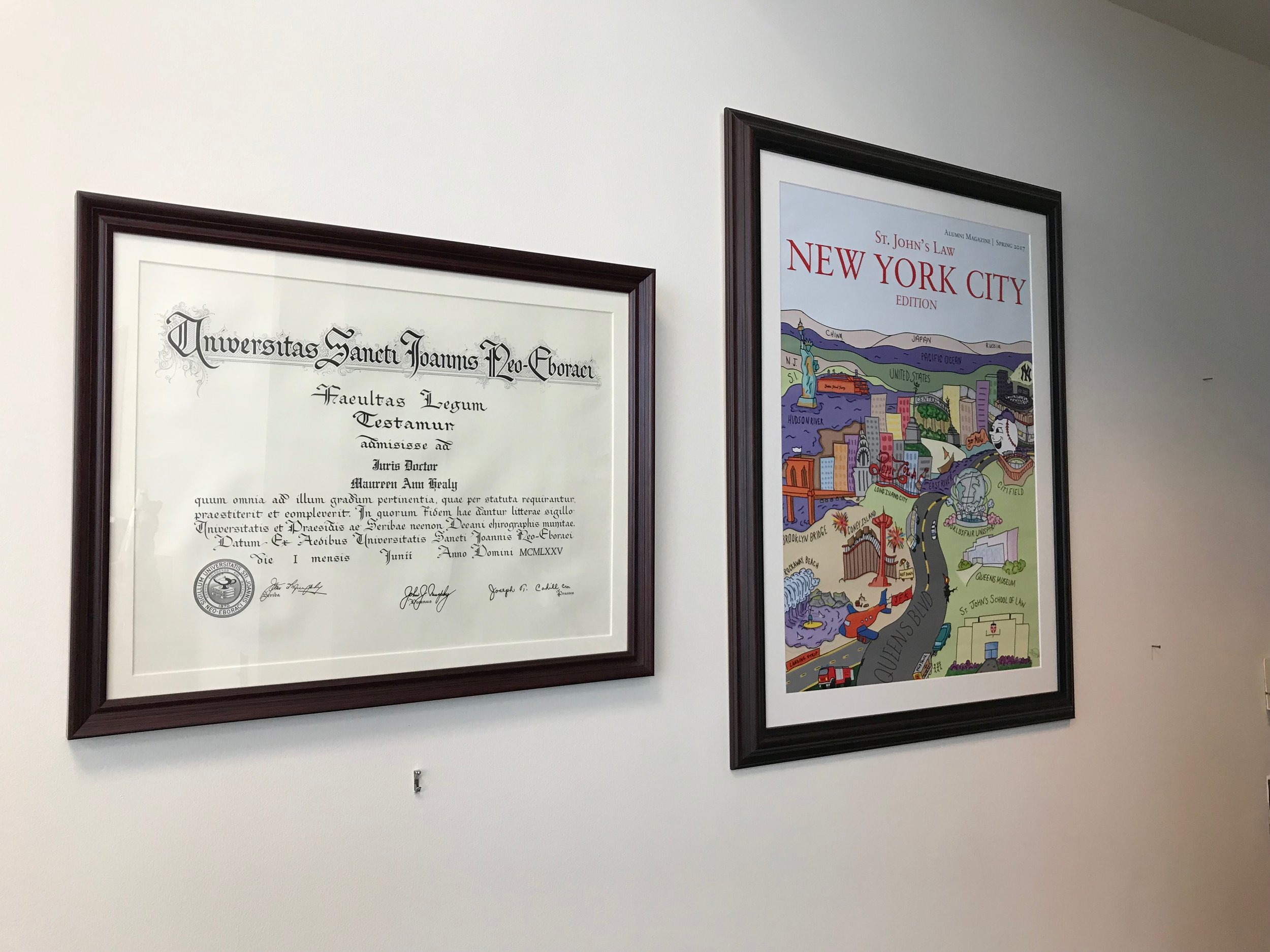 Healy's law degree hangs on the wall next a print of the St. John's alumni magazine. //  Eagle  photos by David Brand