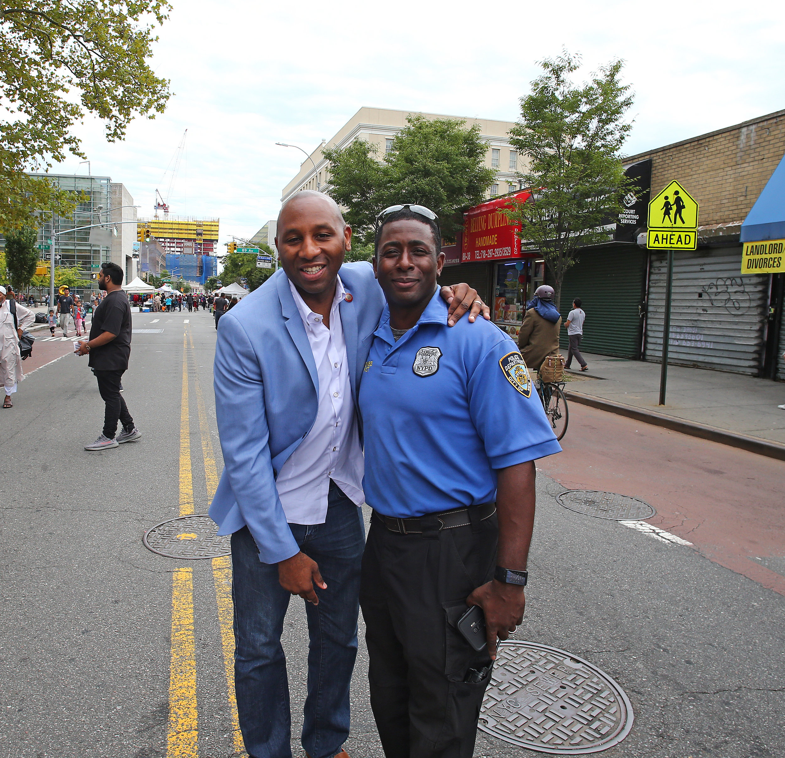 Council Member Donovan Richards with NYPD Community Affairs Officer Deangelo Jones