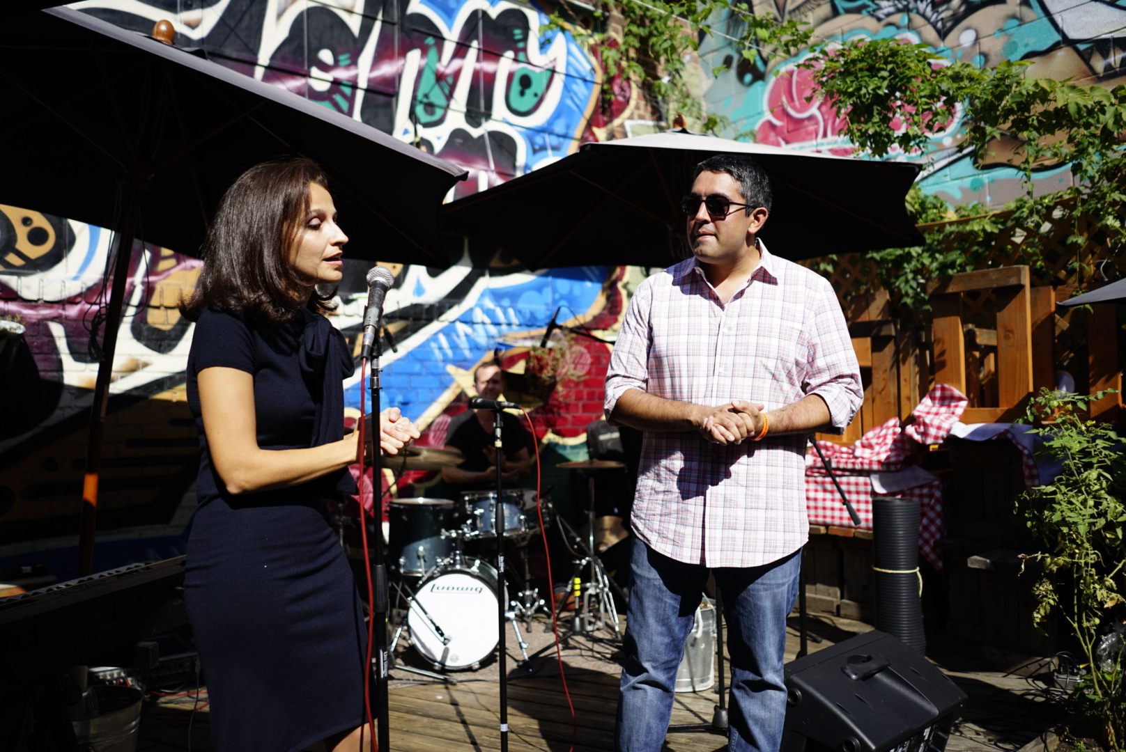 Assembly Member Aravella Simotas and Astoria attorney and organizer Andy Aujla speak at last year's Queens Concert Across America to End Gun Violence. // Photo courtesy of Queens Concert Across America