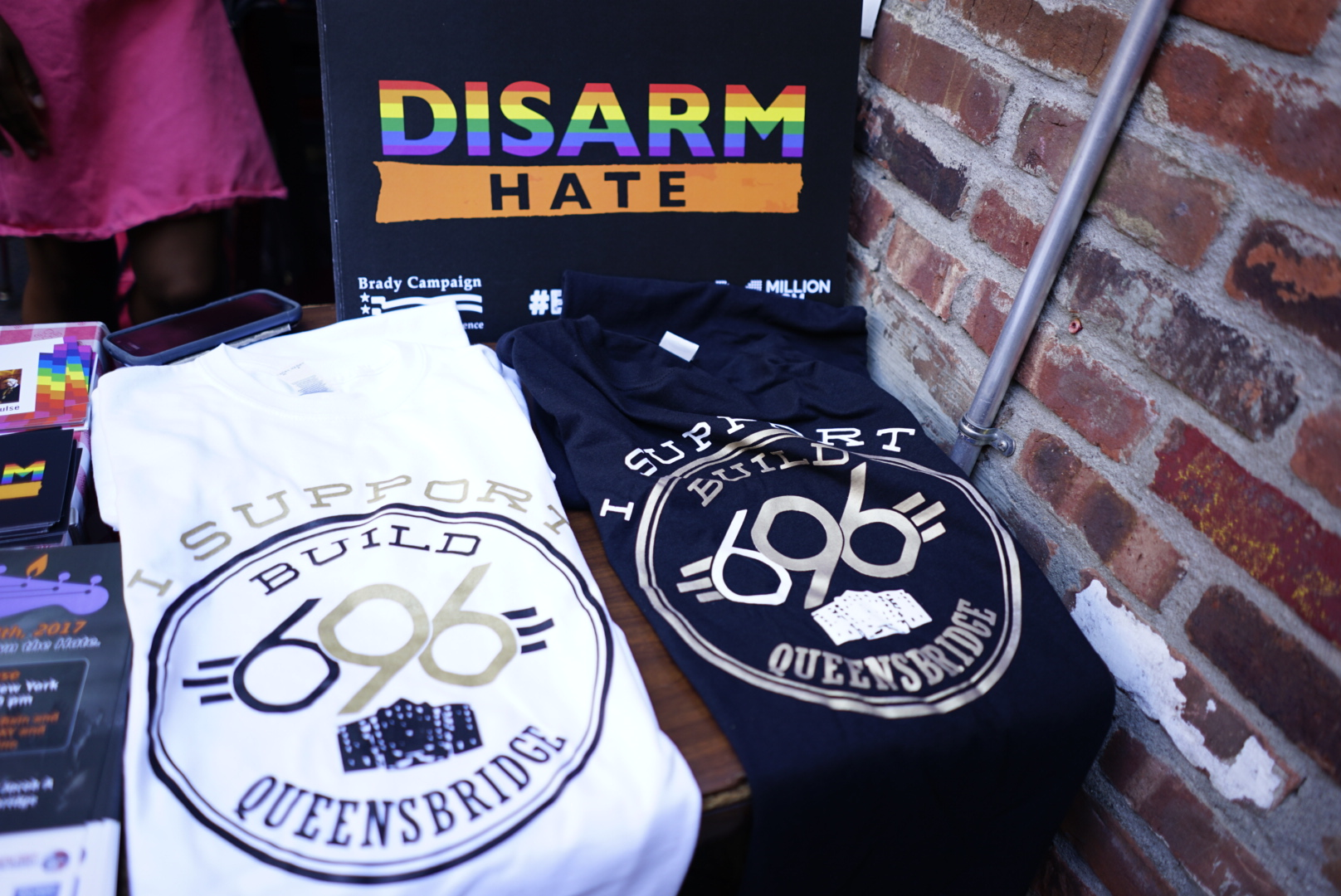 T-shirts from various anti-gun violence organizations on display at last year's event. // Photo courtesy of Queens Concert Across America