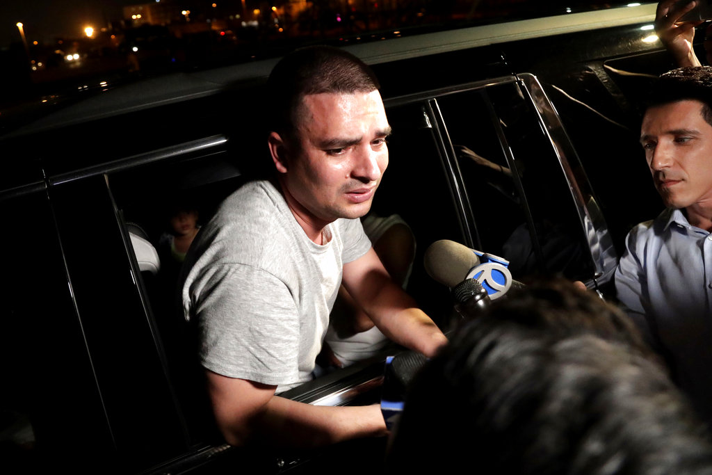Pablo Villavicencio talks to the media after a judge ordered his release from immigration detention in August. // AP Photo.