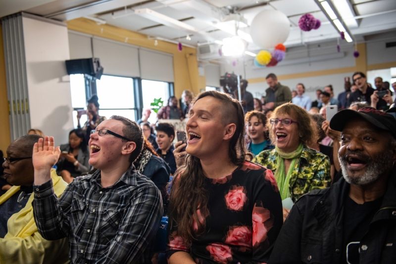 LGBTQ advocates cheered the new law the bill signing event Tuesday. // Photo by Michael Appleton/Mayoral Photography Office