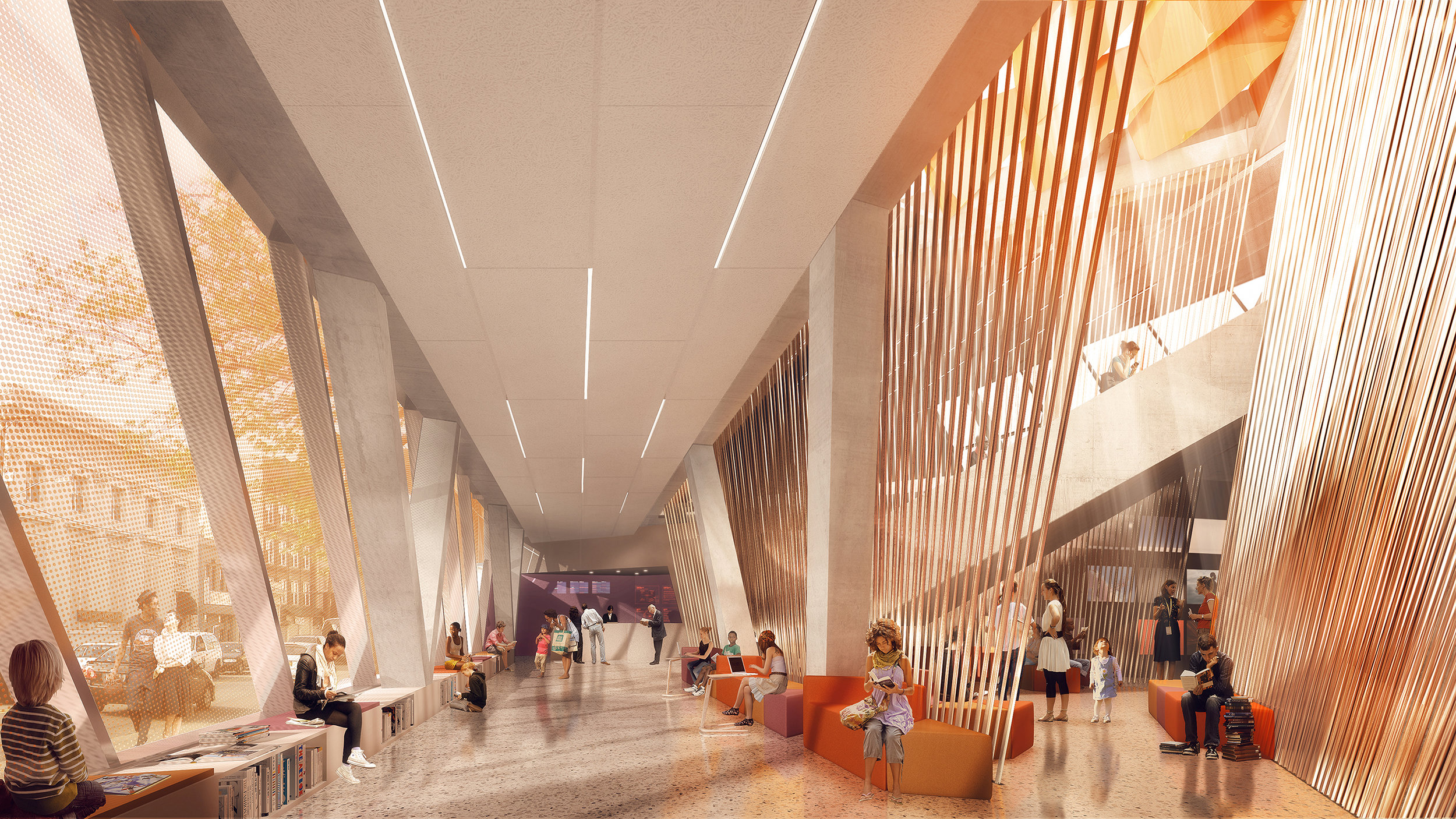 """An artist's rendering of the inside of the new Far Rockaway Library. The designers say the building's """"inverted pyramidal atrium"""" will allow natural light to illuminate the space. Renderings courtesy of Queens Library."""