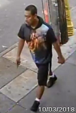 Surveillance footage allegedly shows Noe Angel Sorriano Cruz, 38, walking away from the scene after grabbing the vagina of a preteen. Courtesy of NYPD