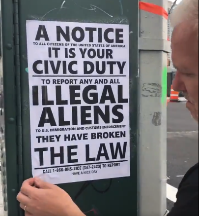 Flyers posted in Sunnyside by a white supremacy group. Photos courtesy of Councilmember Van Bramer.