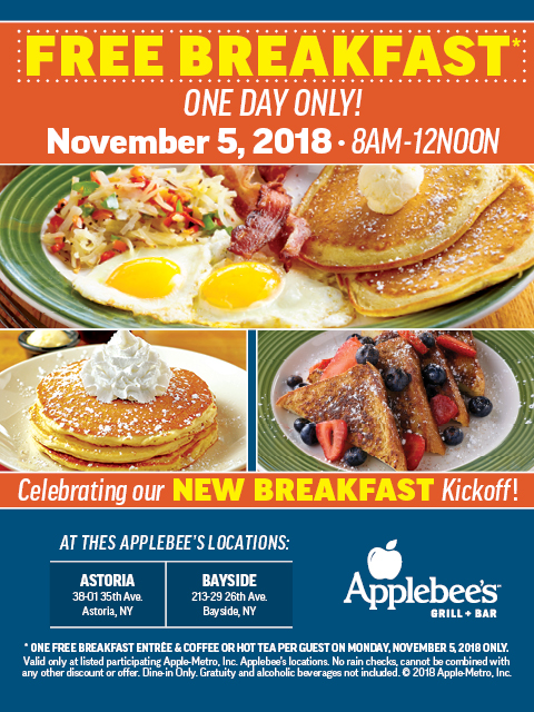 Applebee's is celebrating its new breakfast offering with free breakfast at its Astoria and Bayside locations. Photo   courtesy of Applebee's.