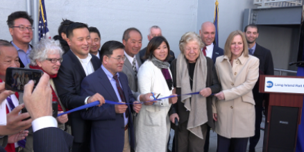 Local officials cut the ribbon on the new Flushing-Main Street station on Thursday. Photo courtesy of the MTA.
