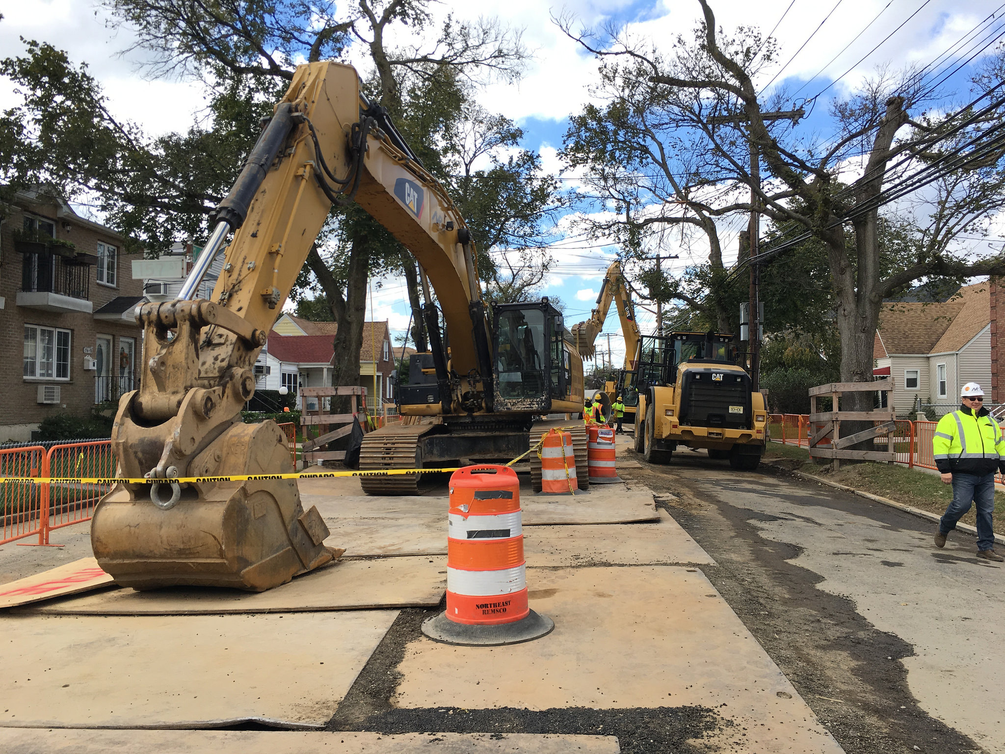 Workers from the Department of Design and Construction prepare to install new sewer systems through southeast Queens. Photo courtesy of DDC.