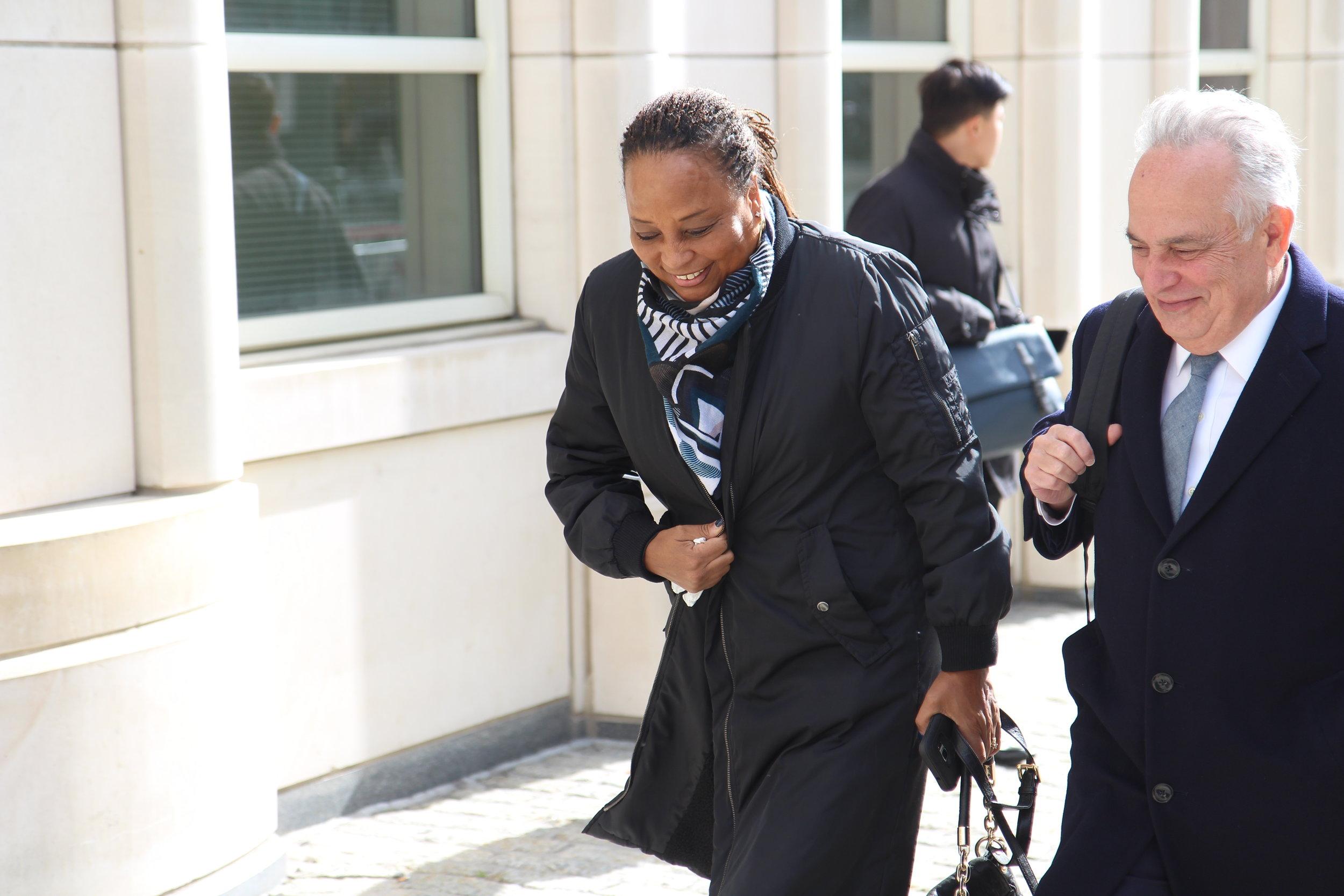 Former Assemblymember Pamela Harris walks to Brooklyn federal court.  Eagle  photo by David Brand.