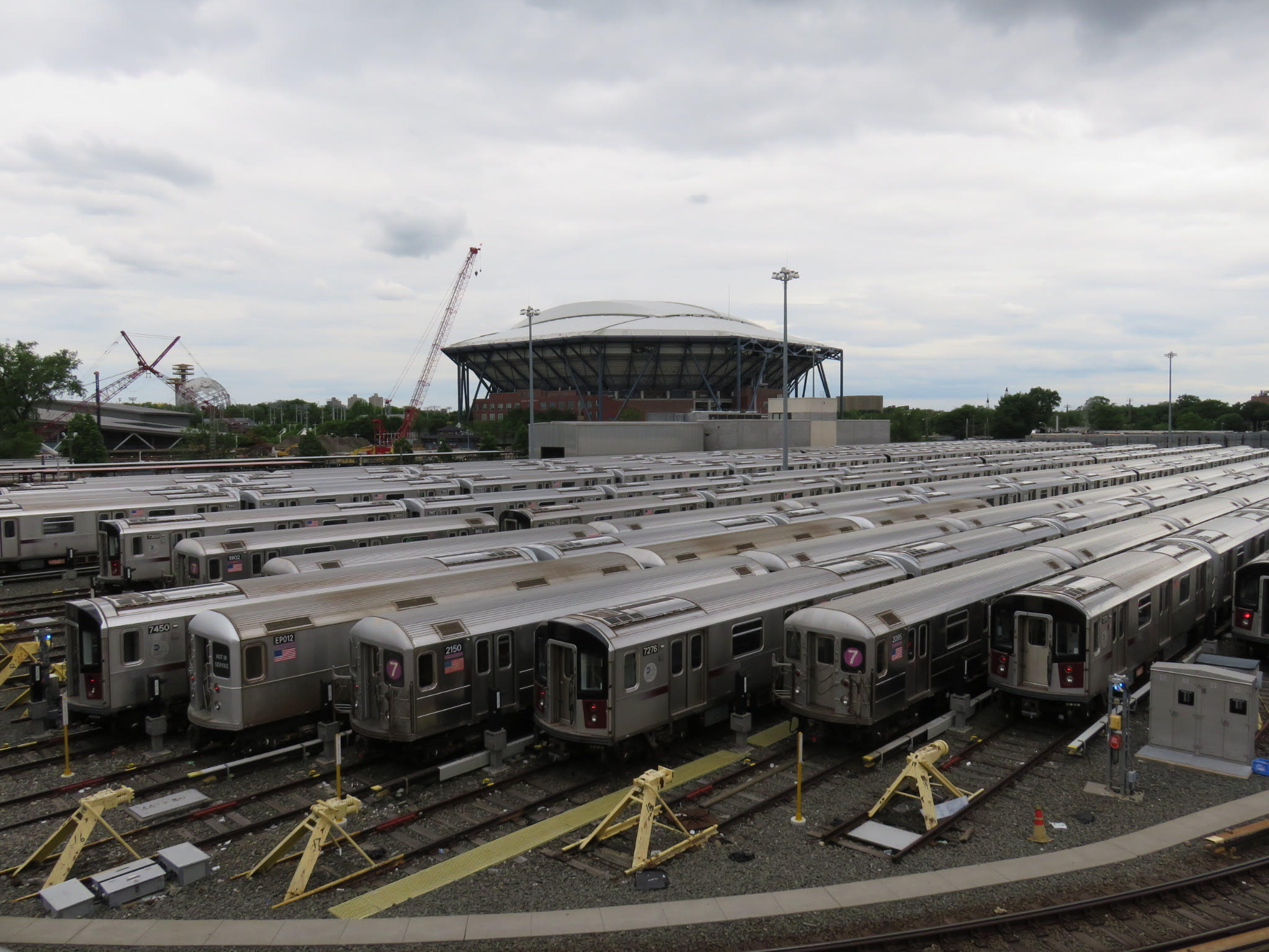 A fleet of 7 trains sit in a Flushing yard. The 7 will see an influx of riders once the L train shuts down.  Eagle  photo by Katie Finkowski.