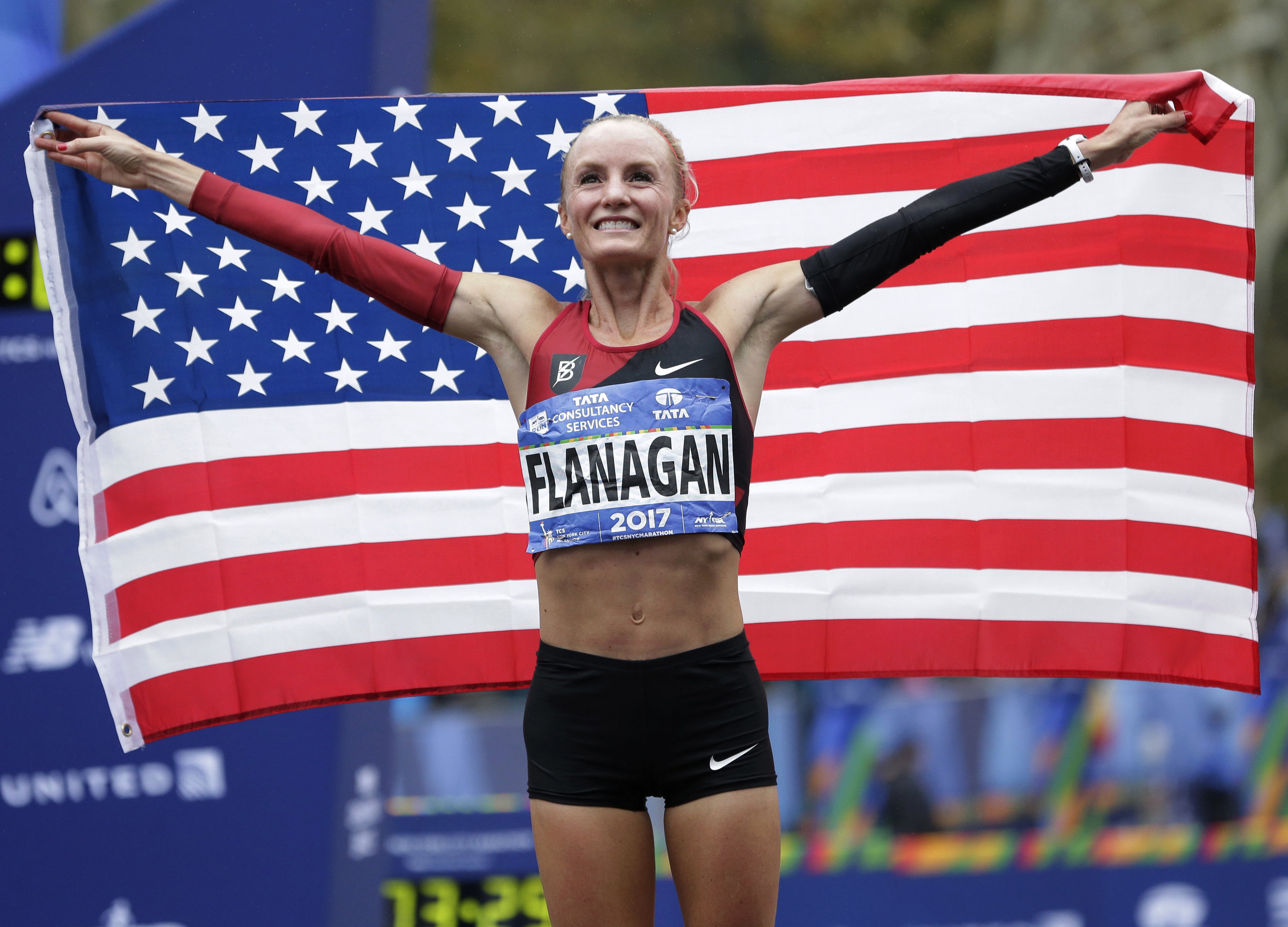 2017 New York City Marathon champion Shalane Flanagan became the first American woman to win the race in 30 years. AP file photo by Seth Wenig.