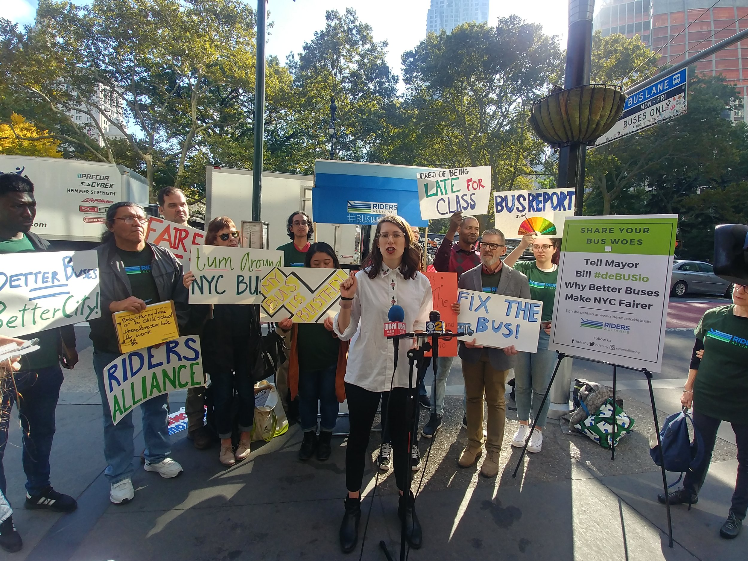 Jaqi Cohen, campaign coordinator of the Straphangers Campaign, speaks at Thursday's rally.