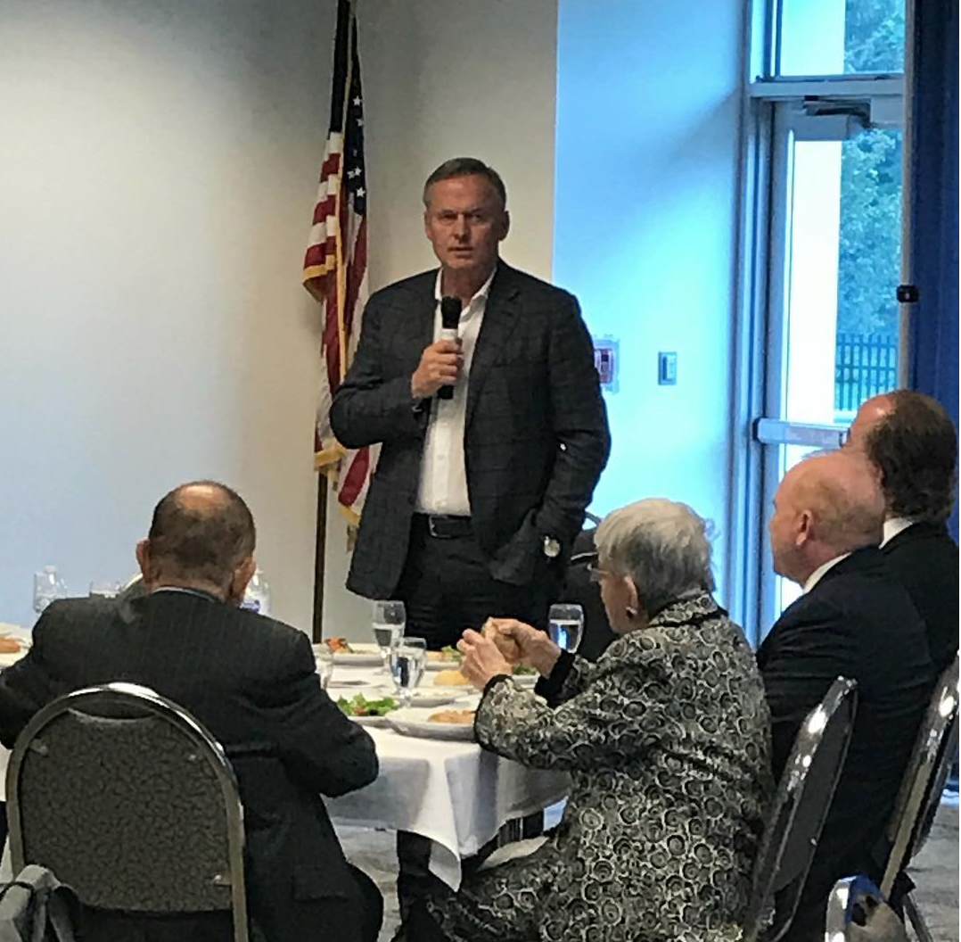 Author John Grisham addresses an audience at Touro College's Jacob D. Fuchsberg Law Center, where he received the annual Bruce K. Gould Book Award. Photo courtesy of Touro.
