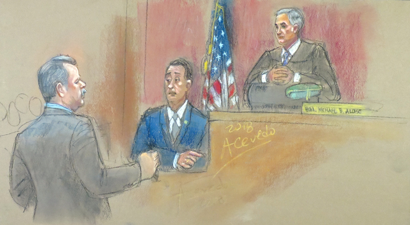 NYPD Lt. John Russo (center) testifies in Queens Criminal Court as Judge Michael Aloise (right) looks on. Assistant District Attorney Brad Leventhal (left) is leading the prosecution. //  Eagle  drawing by Alba Acevedo    By David Brand