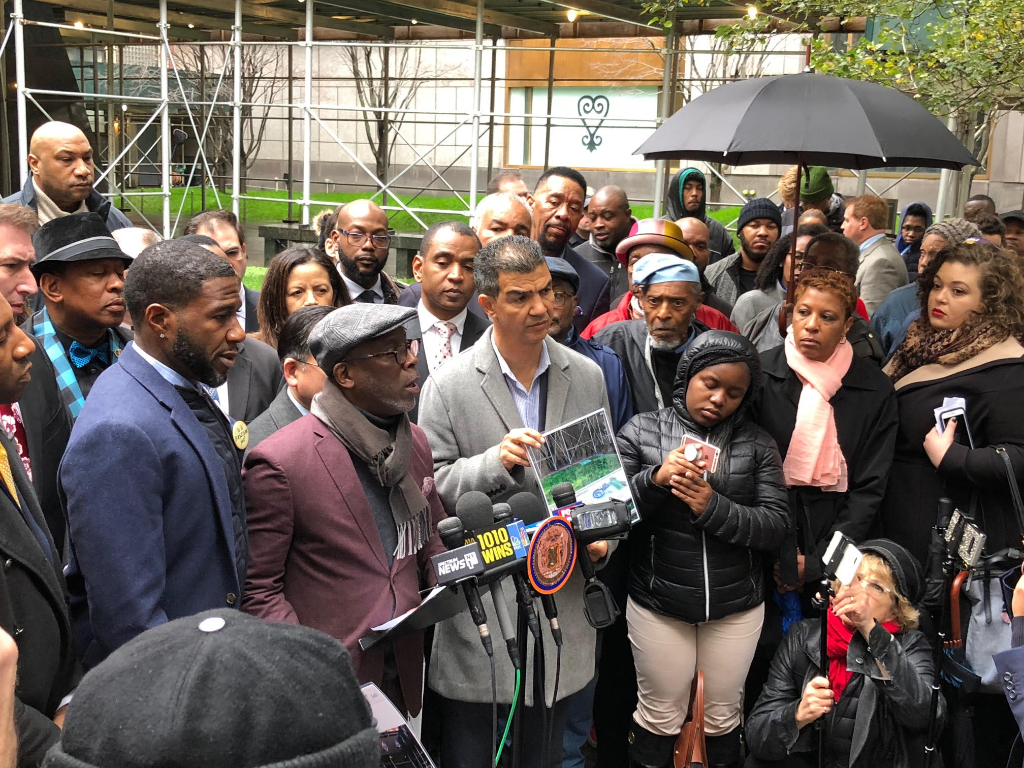 Councilmembers Jumaane Williams (left) I. Daneek Miller (center) and Ydanis Rodriguez (right) condemn racist vandalism at the African Burial Ground Monument in Lower Manhattan. Photo courtesy of I. Daneek Miller.