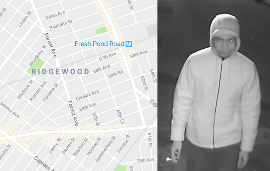 A still image of one of the three possible cross-borough armed robbers (right).Photo courtesy of NYPD. Left via Google Maps.