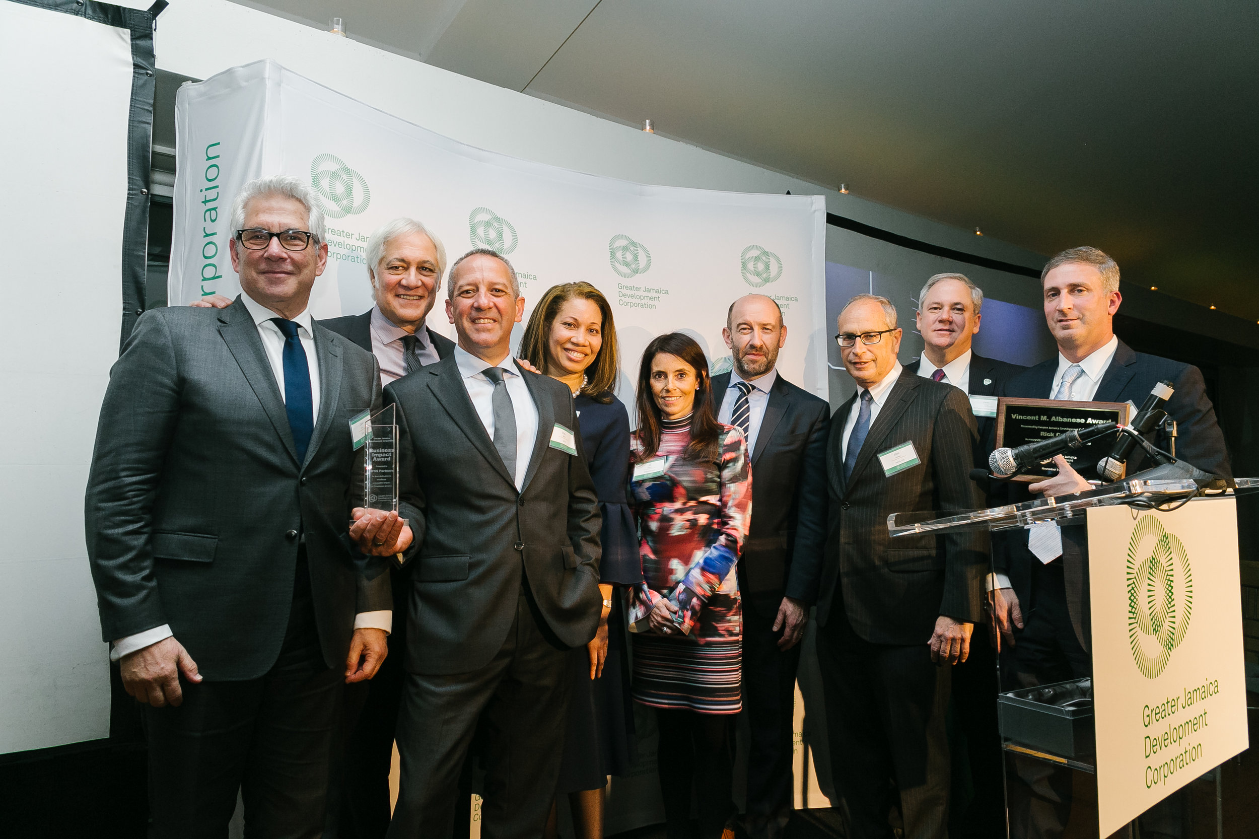 The Greater Jamaica Development Corporation honored Port Authority Executive Director Rick Cotton and the architecture firms GF55 Partners. Photo via GJDC.