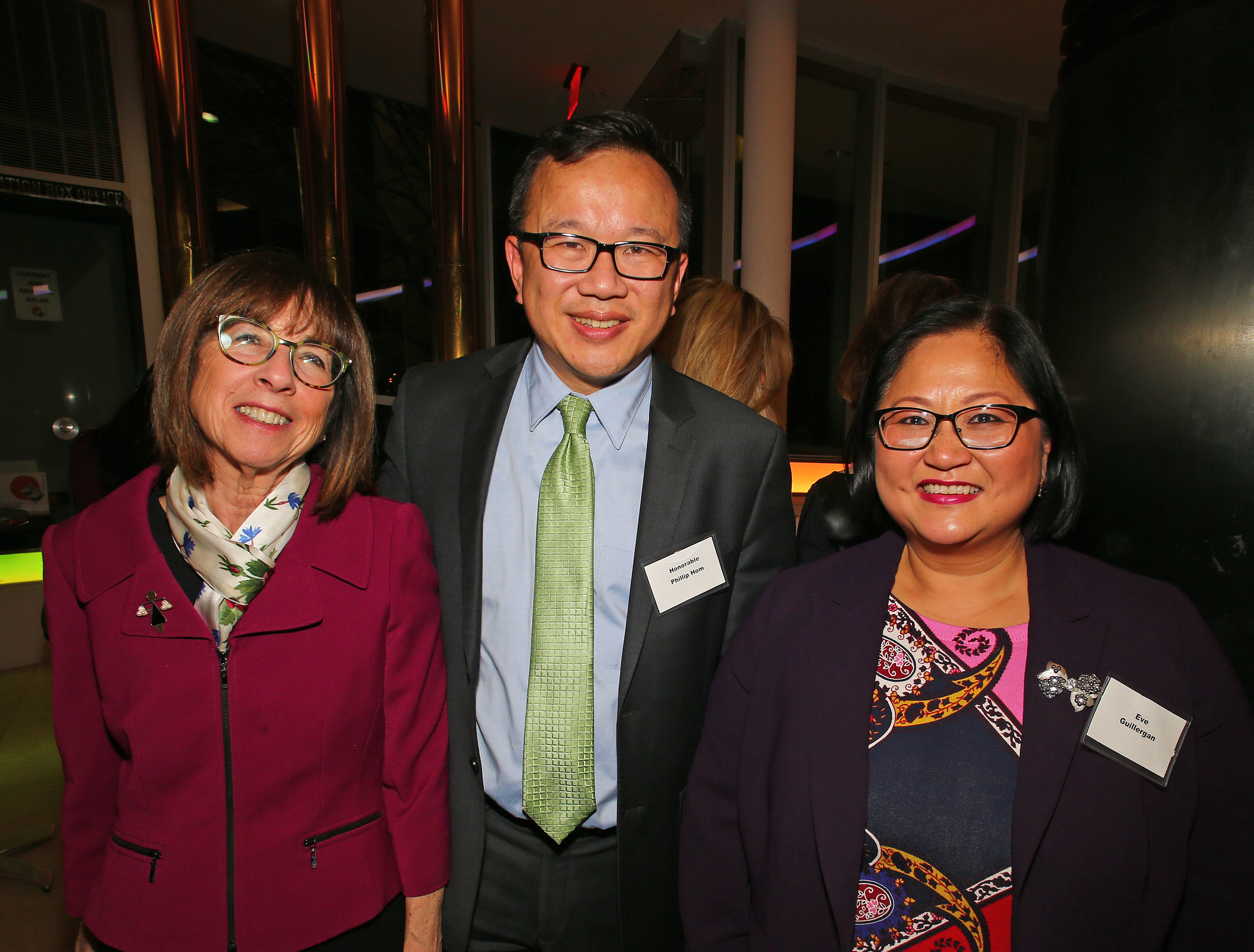 From left, Judge Bernice Siegal, Judge Phillip Hom and Eve Guillergan.