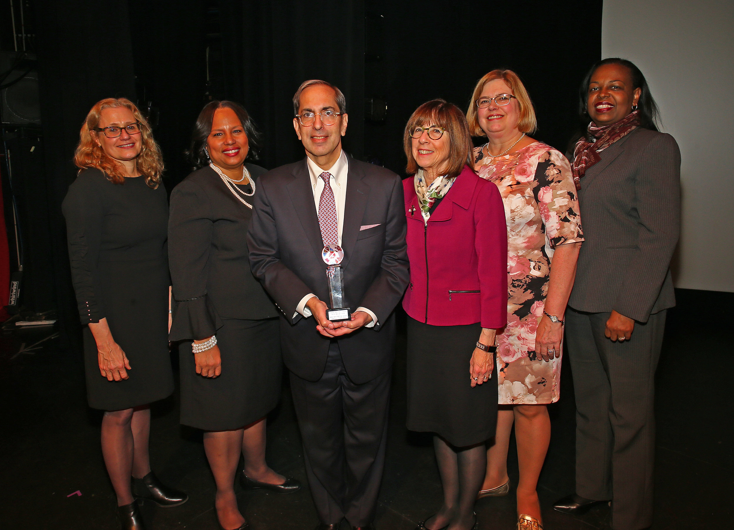 From left, Lisa Mevorach, QWCBA President Adrienne Williams, Judge Paul G. Feinman,  Judge Bernice Siegal, Louise Derevlany and Judge Marguerite Grays.