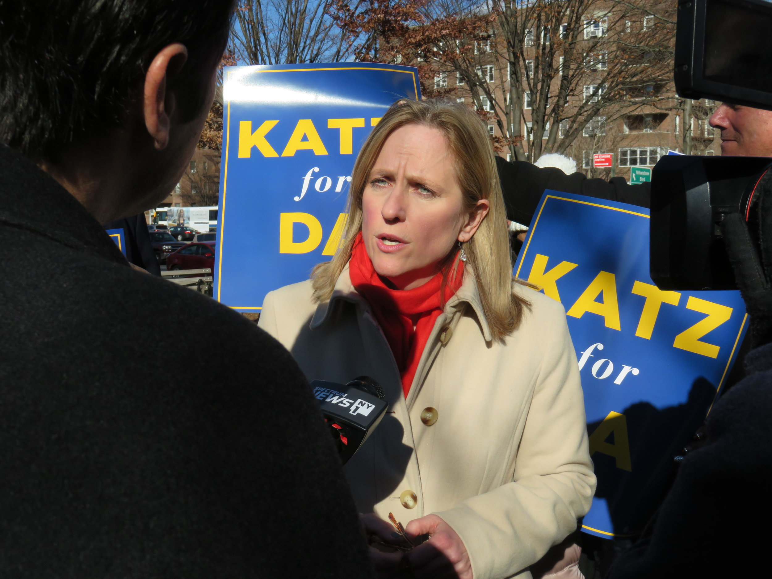 Katz talks to reporters after announcing her candidacy for Queens DA Tuesday. //  Eagle  photo by David Brand