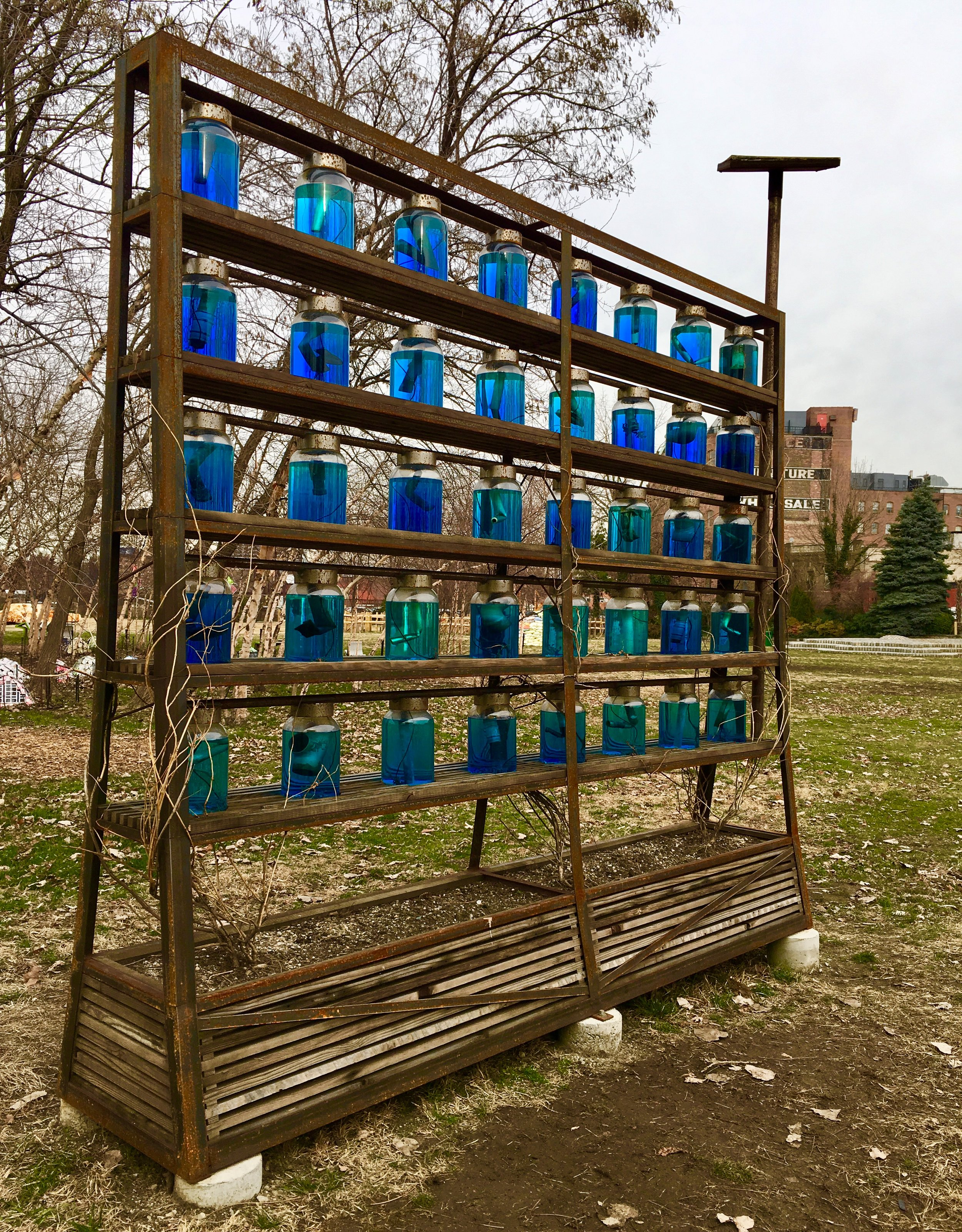 "This eye-catching work at Socrates Sculpture Park is by Leander Mienardus Knust and is called ""Re-Material Wall."""