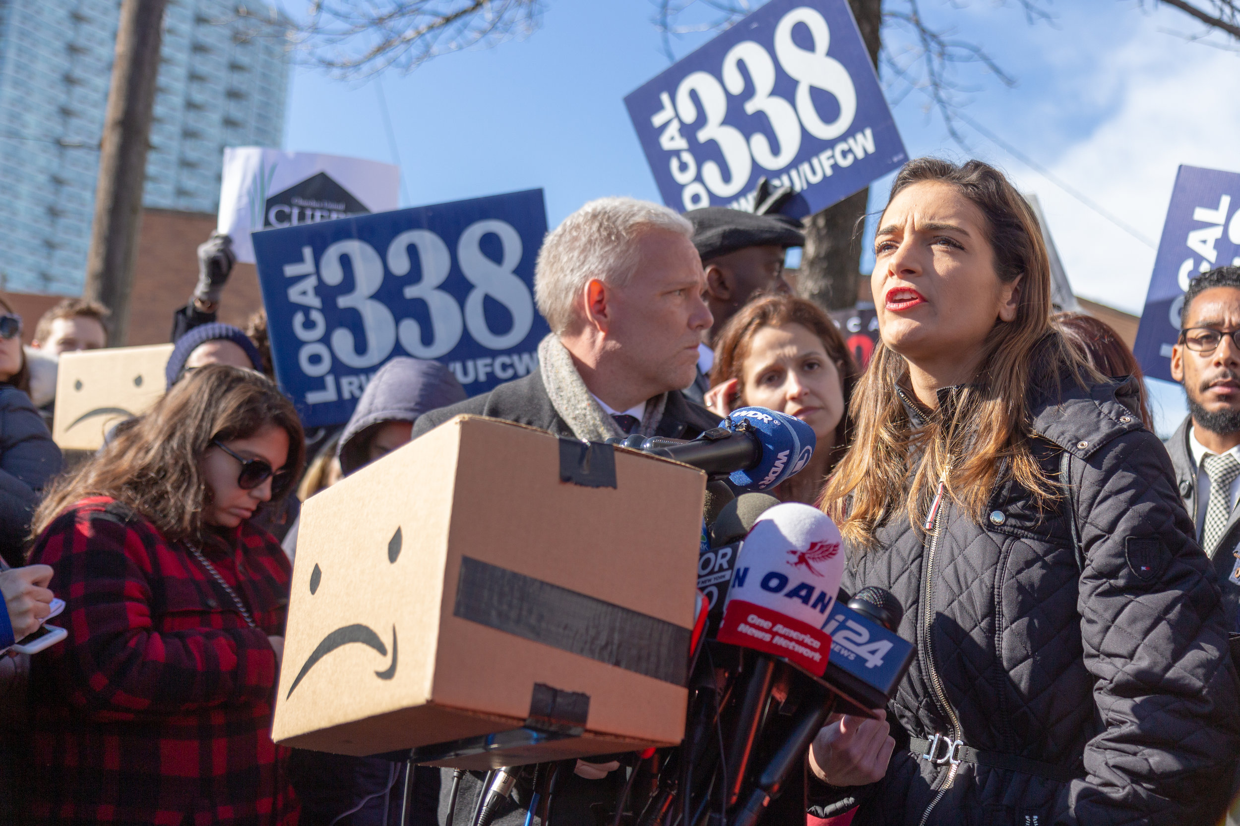 State Senate-elect Julia Salazar, one of the local leaders who has rallied against Amazon's Long Island City campus.  Eagle  photo by Jonathan Sperling.