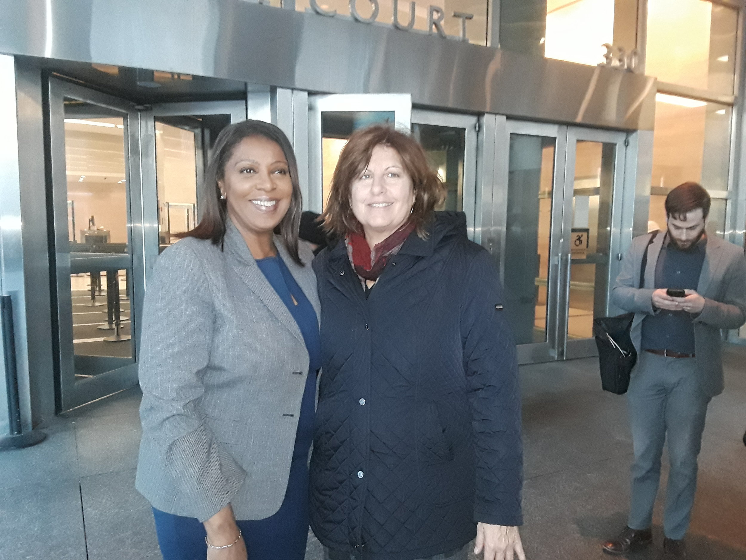 New York State Attorney General-elect Letitia James (left) and Brooklyn Defender Services Founder and Executive Director Lisa Schreibersdorf.  Eagle  photo by Christina Carrega
