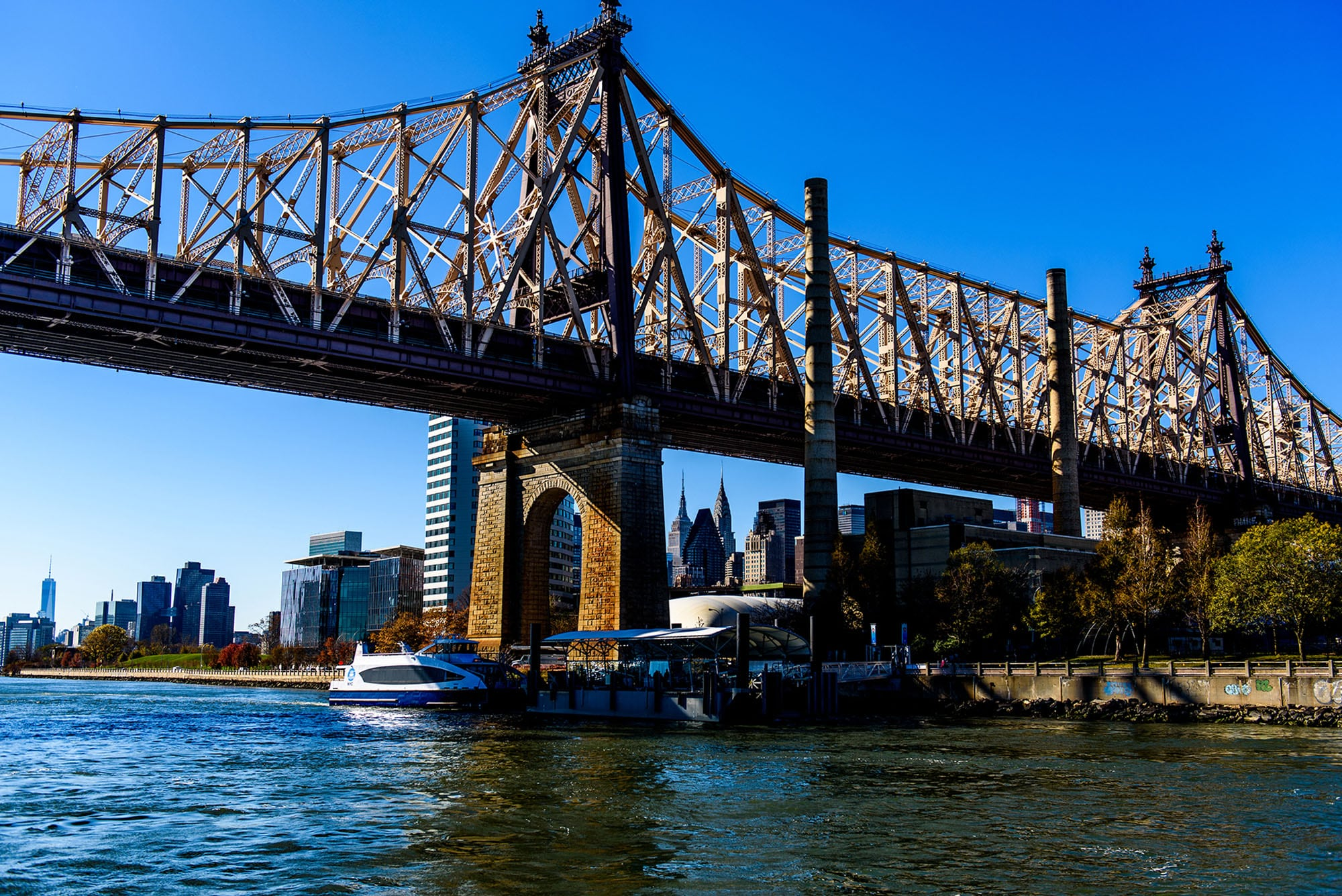 An Astoria Route ferry stops at Roosevelt Island. Photo courtesy of NYC Ferry.
