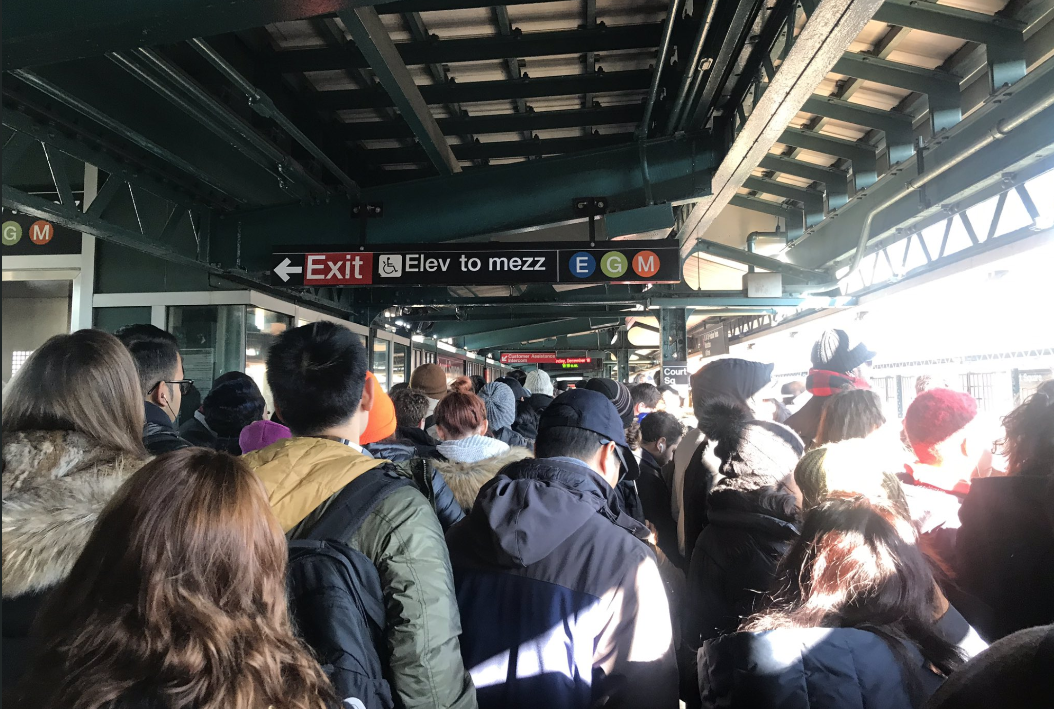 The Court Square subway station was crammed with commuters last week. Photo courtesy of Jeremy Rosenberg.