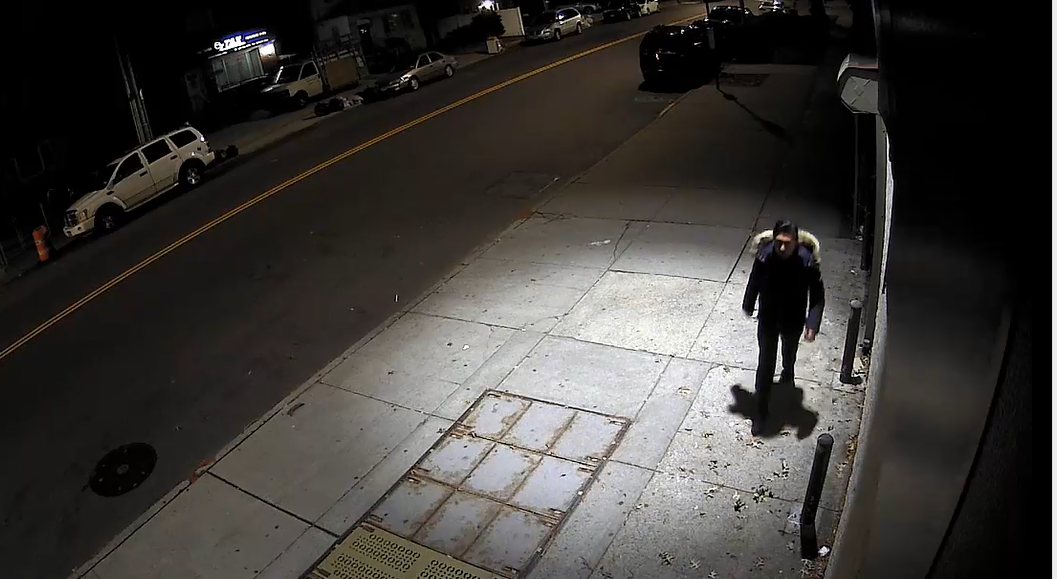 A still image from a video of the suspect walking away from the crime scene on Dec. 18. Video courtesy of the NYPD.