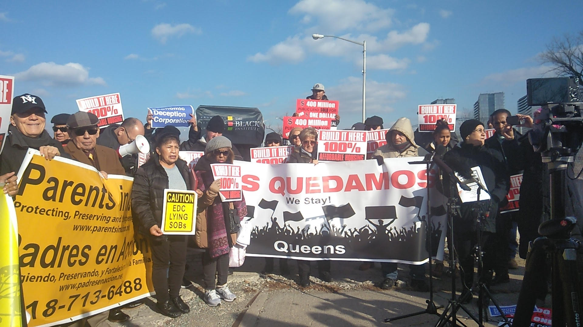 The community coalition Nos Quedamos demonstrates for affordable housing at Willets Point. Photo courtesy of Nos Quedamos
