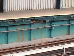 Platform girder deterioration at 111th Street. Photos courtesy of the MTA.
