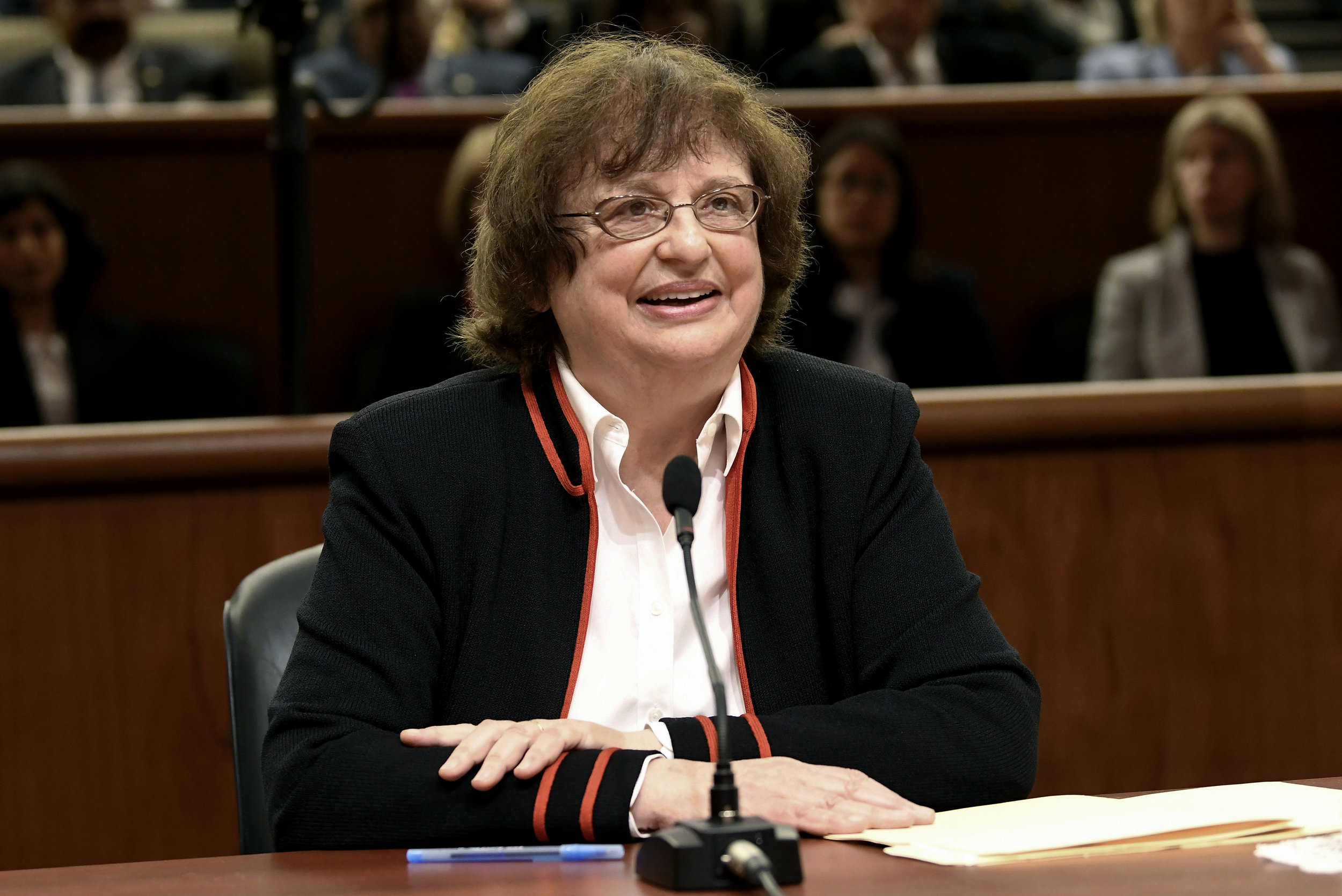 Barbara Underwood speaks to legislative leaders in Albany in May 2018. AP Photo/Hans Pennink, File.
