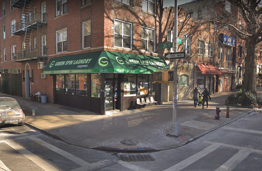 Green Spin Laundry Express offers eco-friendly laundry services in Astoria. Photo via Google Maps.
