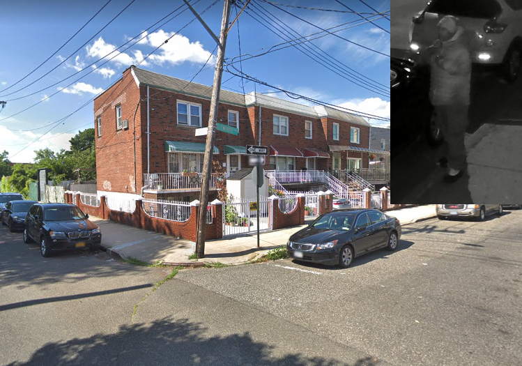 Still image of suspected cellphone robbery suspect. Inset photo courtesy of the NYPD. Background image via Google Maps.