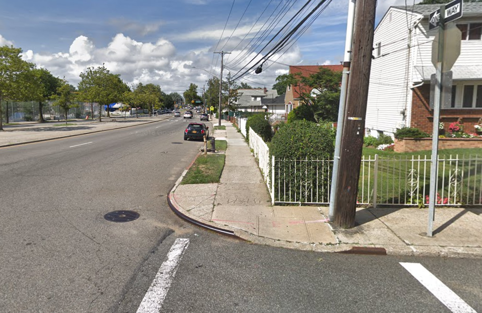 Peter Bailey was allegedly struck by a sanitation vehicle that swerved into him near the corner of 133rd Avenue and Springfield Boulevard. Photo via Google Maps.