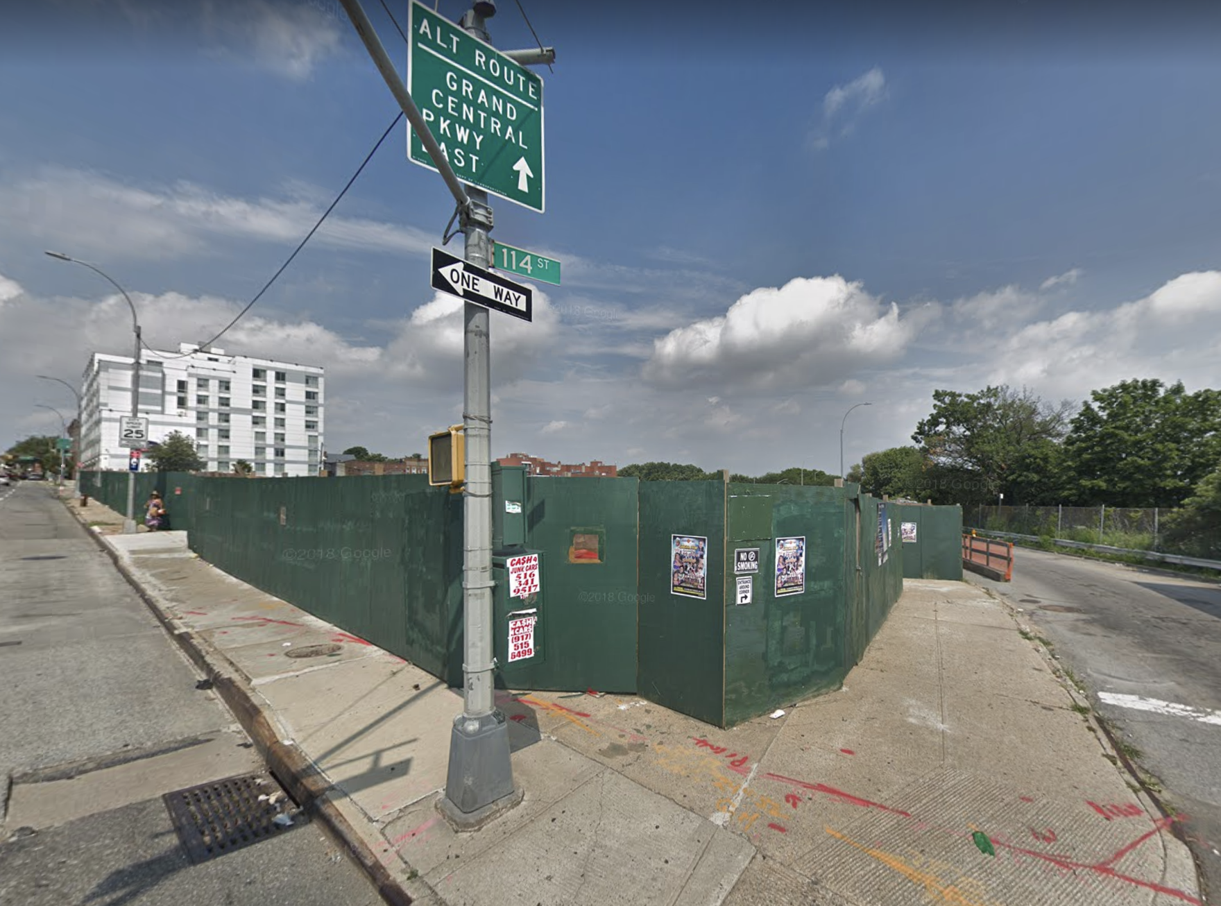 A street cave-in occurred at a construction site near the corner of Northern Boulevard and 114th Street on Friday. Photo via Google Maps