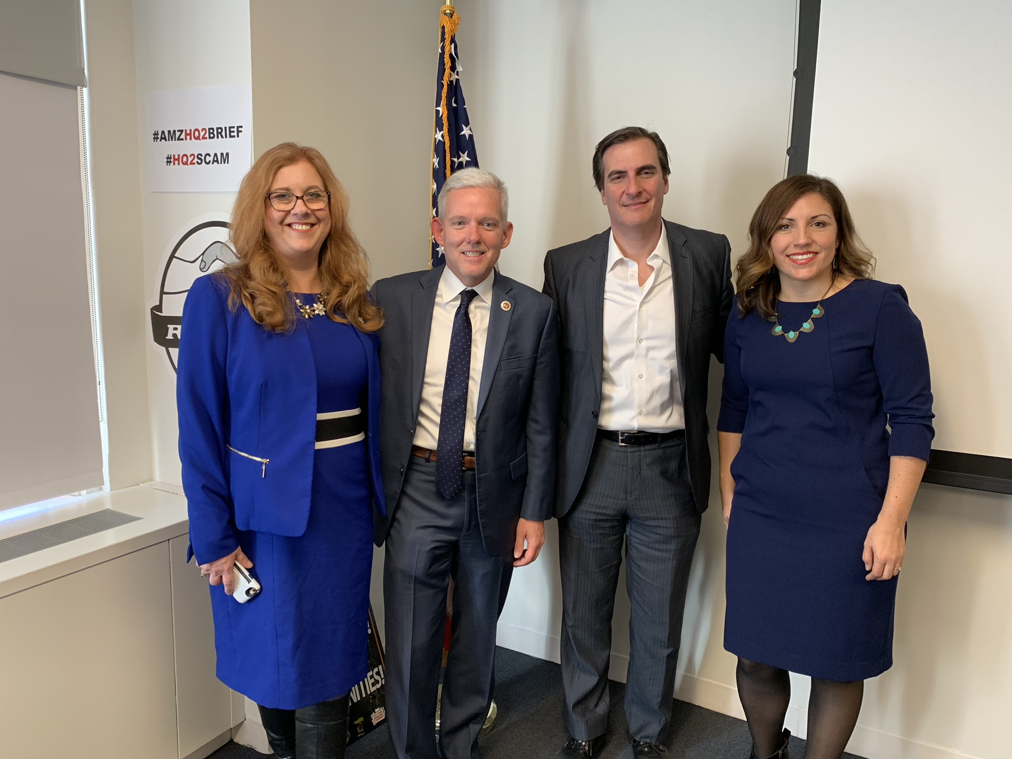 Seattle Council Member Lisa Herbold (left), New York City Council Member Jimmy Van Bramer (second from left), New York State Sen. Michael Gianaris (second from right) and Seattle Council Member Teresa Mosqueda met at the Retail, Wholesale, and Distribution Workers Union (RWDSU) headquarters. Photo courtesy of Gianaris' Office