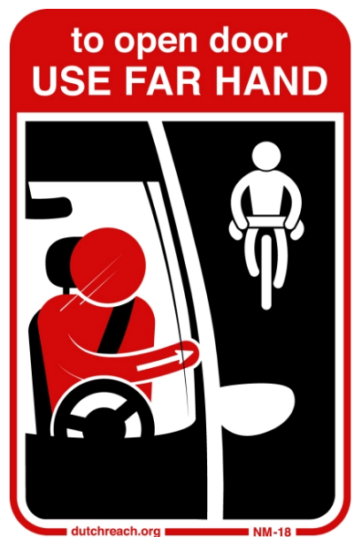 The Dutch Reach Project has distributed numerous informational stickers, like this one, to raise public awareness of the car-exiting practice. Image courtesy of Dutch Reach Project