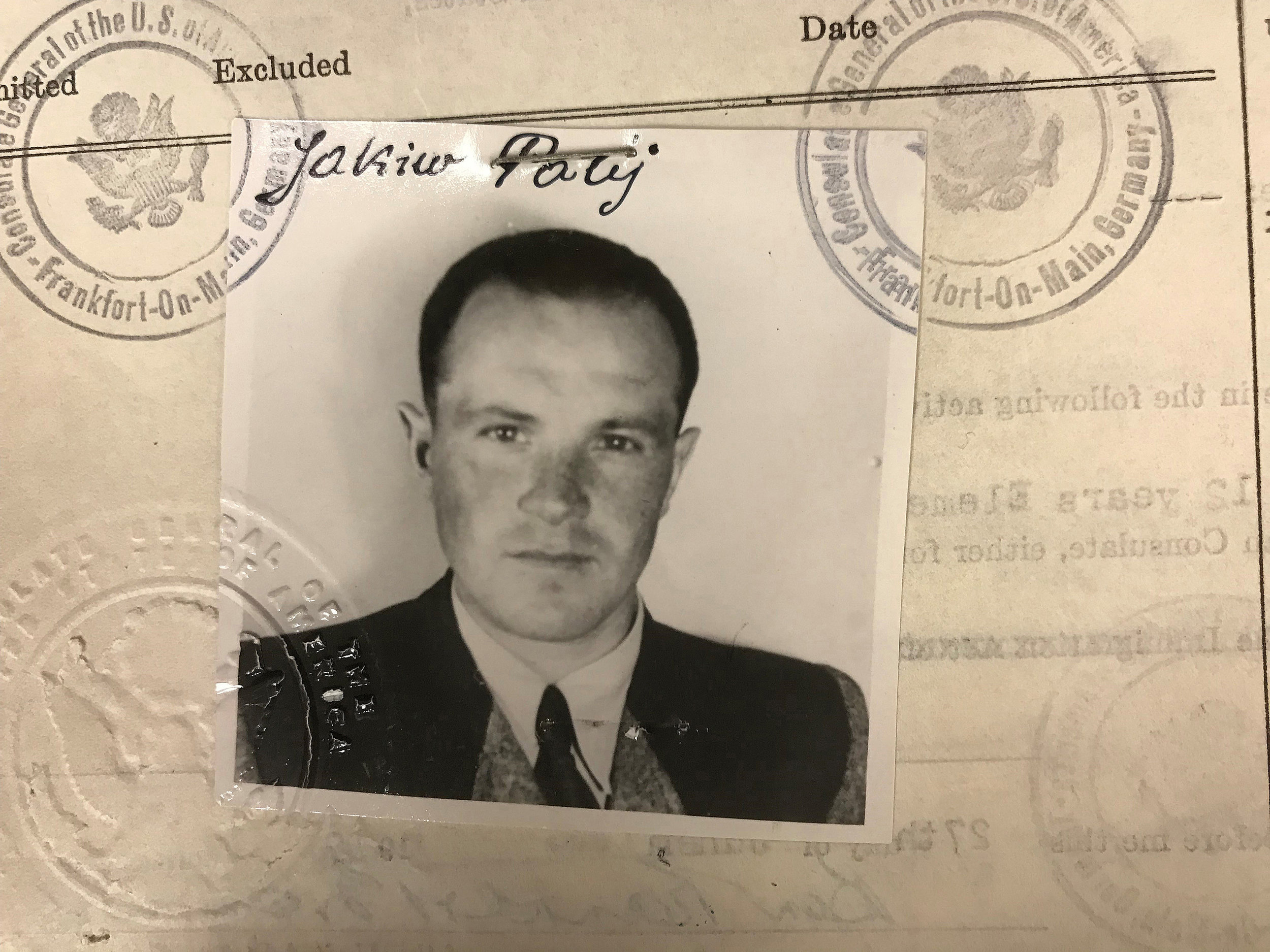 A 1949 visa photo provided by the U.S. Department of Justice shows Jakiw Palij, a former Nazi concentration camp guard who lived in Jackson Heights. Palij was extradited to Germany last year and German media report that he died Wednesday. US Department of Justice via AP, file