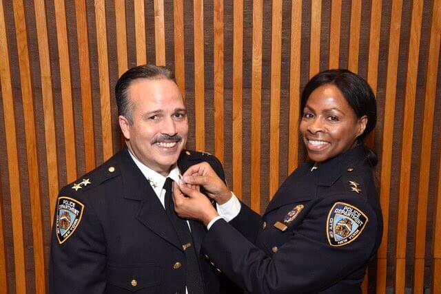 Assistant Chief Martin Morales, the new Borough Commander of Patrol Borough Queens North (left) and former Assistant Chief Juanita Holmes. Photo via NYPD Queens North Borough Command/Twitter.