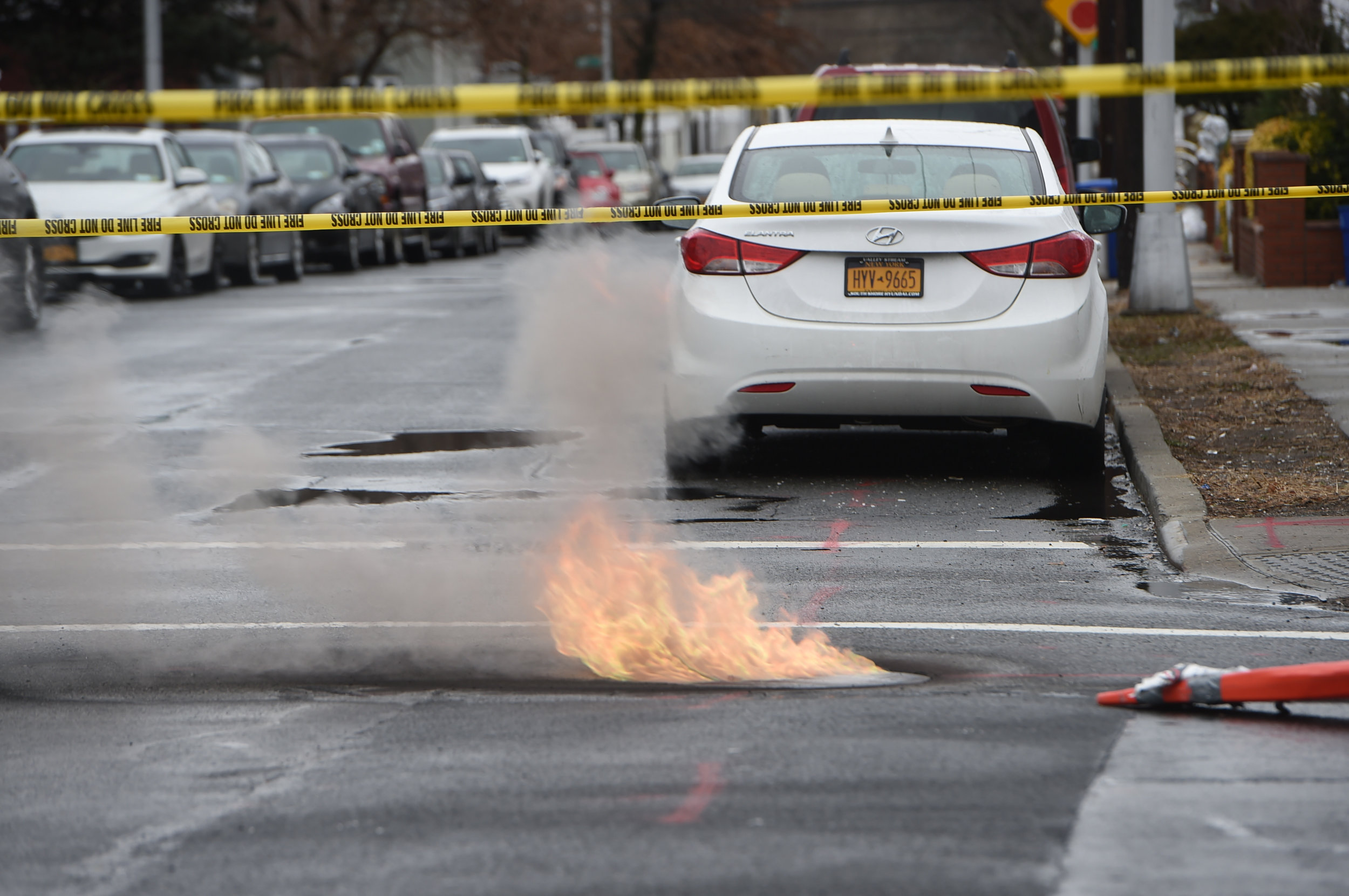 A manhole fire knocked out power in Hollis.  Eagle  photo by Todd Maisel