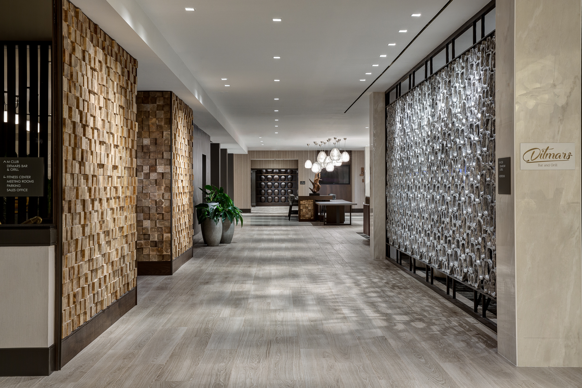 A remodeled hallway inside the LaGuardia Airport Marriott. Photo courtesy of Marriott  .