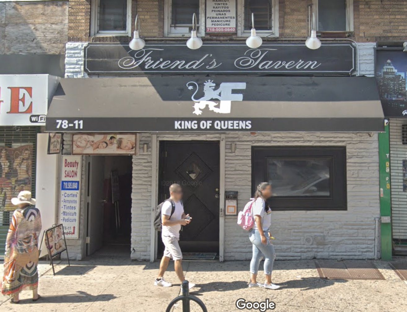 NYPD Officer Jose Linares-Bilbao was arrested for his alleged role in group attack outside Friend's Tavern, a gay bar in Corona. Photo via Google Maps