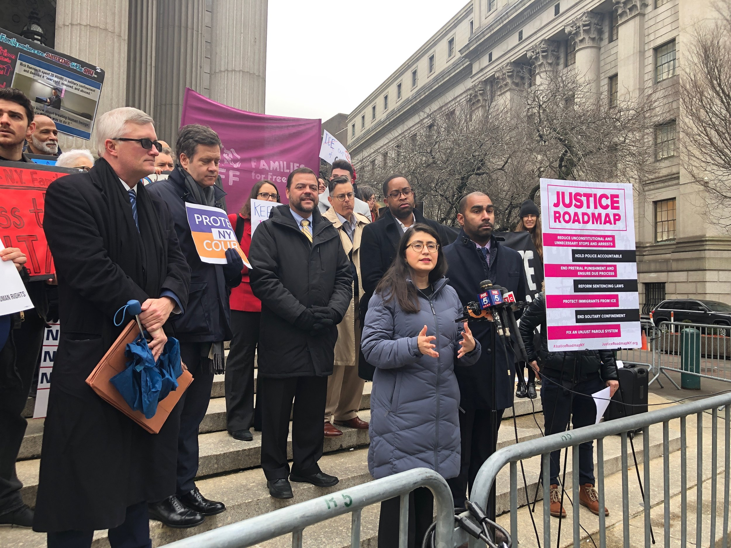 """State Sen. Jessica Ramos from Queens' District 13 speaks in support of the """"Justice Roadmap,"""" a slate of criminal justice reform bills and priorities developed by a coalition of community groups. Photo via Ramos' Office"""