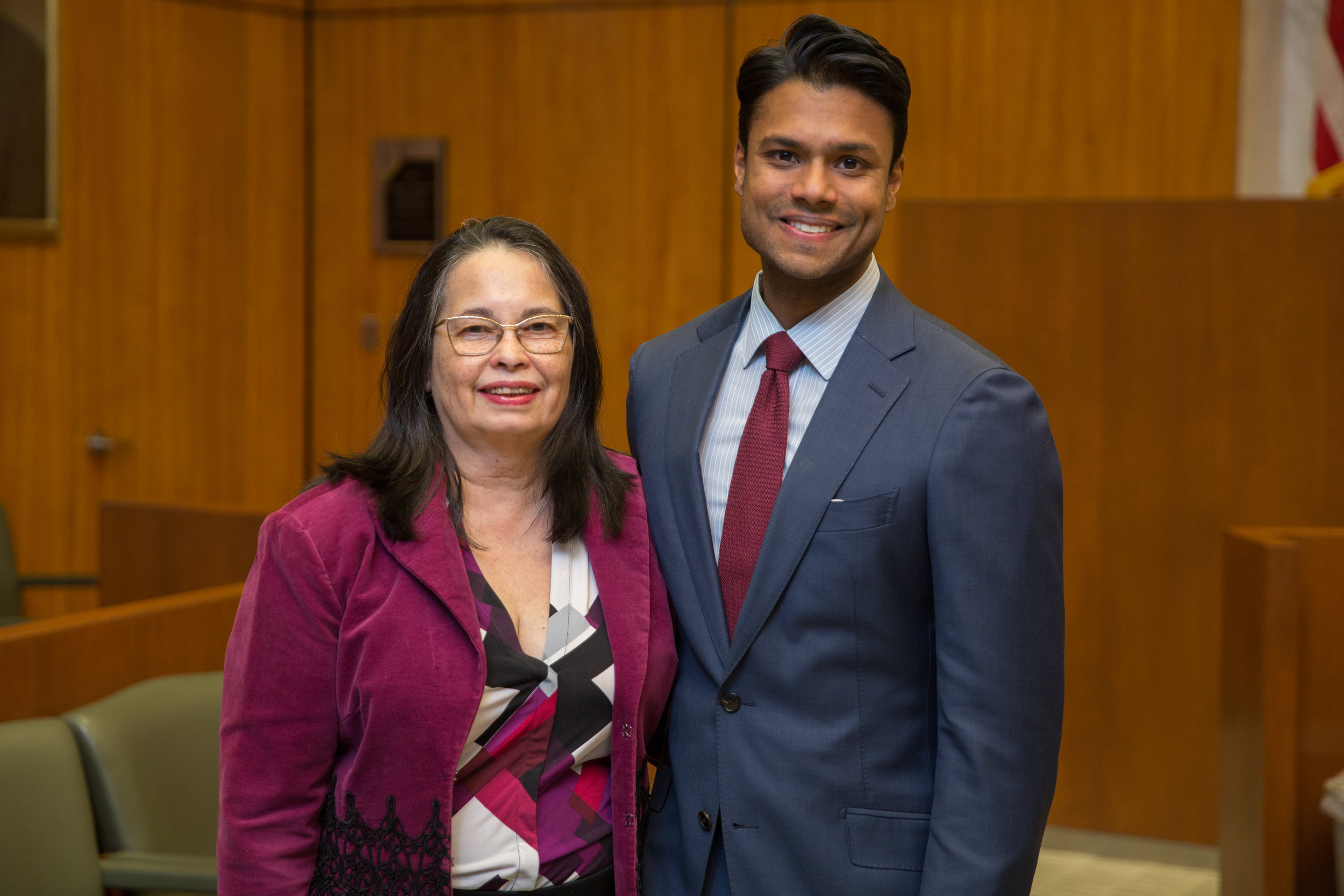 The South Asian Bar Association of New York held its installation at the EDNY courthouse. Pictured is Hon. Dora Irizarry, chief judge of the EDNY, and new president Ryan Budhu. Photos courtesy of Ryan Budhu.