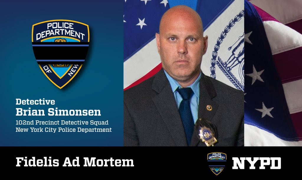 """Detective Brian Simonsen died after being shot in a """"friendly fire"""" incident in Richmond Hill on Tuesday. Photo via the NYPD."""