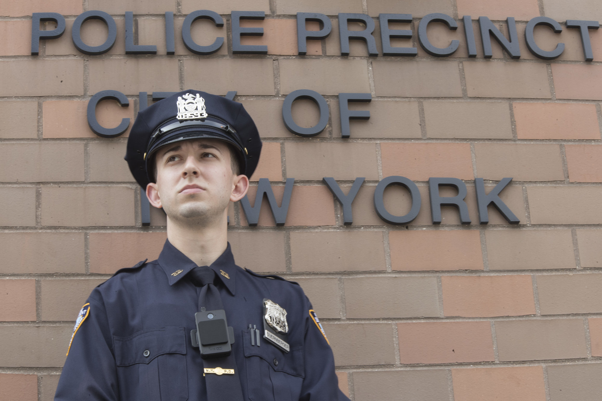 An NYPD officer wears a body camera. AP Photo/Mary Altaffer.