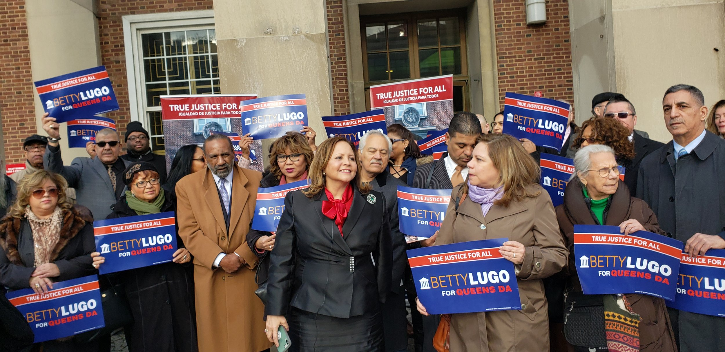 Attorney Betty Lugo announced her candidacy for Queens DA outside Borough Hall on Thursday. Photo courtesy of Lugo's campaign.