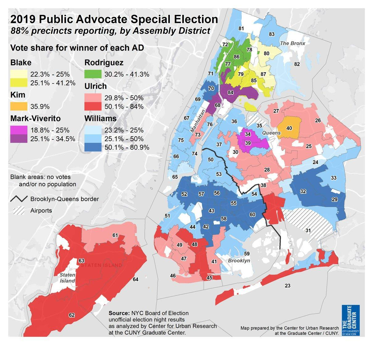 A map of election results by state assembly district reveal the ideological divides across Queens and New York City — divides that often cleave along racial and ethnic lines. Map via the CUNY Graduate Center